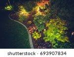 Illuminated Backyard Garden. Night Time Photo. Outdoor Garden Lighting. - stock photo