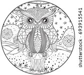 mandala with owl. design... | Shutterstock . vector #693915541