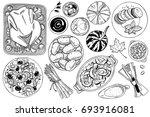 hand drawn food doodles | Shutterstock .eps vector #693916081