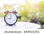 Golden Light With Old Clock An...