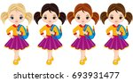 vector cute little girls with... | Shutterstock .eps vector #693931477