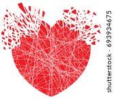 red explosion heart  splash | Shutterstock .eps vector #693934675