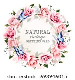 natural vintage greeting frame... | Shutterstock .eps vector #693946015