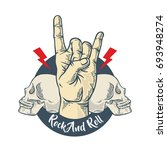 rock and roll fashion slogan.... | Shutterstock .eps vector #693948274