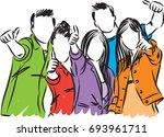 college students vector... | Shutterstock .eps vector #693961711