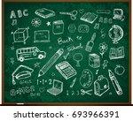 set of school doodle... | Shutterstock .eps vector #693966391
