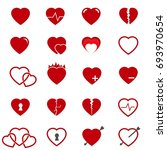 red heart icons set vector | Shutterstock .eps vector #693970654