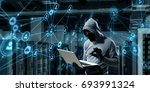 computer privacy attack. mixed... | Shutterstock . vector #693991324