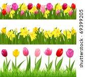 3 flower borders from tulips... | Shutterstock . vector #69399205