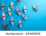colorful origami birds flying... | Shutterstock . vector #69400045