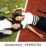 young pretty girlfriends... | Shutterstock . vector #694002781