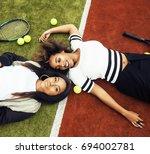 young pretty girlfriends... | Shutterstock . vector #694002781