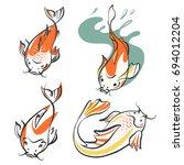 carp koi. set of four image ... | Shutterstock .eps vector #694012204