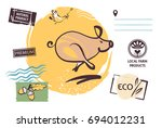 freehand drawing silhouette pig ... | Shutterstock .eps vector #694012231