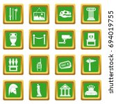 museum icons set in green color ... | Shutterstock .eps vector #694019755