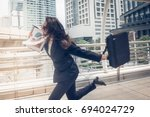 business woman hurry up and... | Shutterstock . vector #694024729