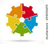 gear wheel with five colored... | Shutterstock .eps vector #694034695