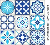 vector tiles blue pattern ... | Shutterstock .eps vector #694037095