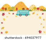 autumn bus tour vector... | Shutterstock .eps vector #694037977