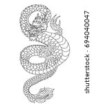 japanese dragon line drawing on ... | Shutterstock .eps vector #694040047