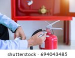 engineer inspection fire... | Shutterstock . vector #694043485