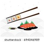 sushi set with chopsticks. ... | Shutterstock .eps vector #694046989