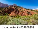 scenery in zion national park ... | Shutterstock . vector #694050139