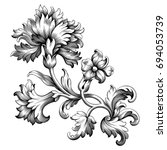Rose peony carnation flower vintage Baroque Victorian frame border floral ornament leaf scroll engraved retro pattern decorative design tattoo black and white filigree calligraphic vector  | Shutterstock vector #694053739