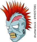 cartoon zombie head. | Shutterstock . vector #694057081
