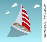sailing yacht isometric style... | Shutterstock .eps vector #694062289