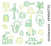 hand drawn doodle set of  eco. | Shutterstock .eps vector #694065751