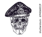 skull in german military hat ... | Shutterstock .eps vector #694068319