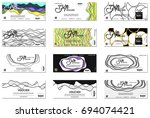 set of gift voucher. vector ... | Shutterstock .eps vector #694074421