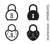 lock vector icons set. black... | Shutterstock .eps vector #694081441