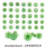 various green trees  bushes and ... | Shutterstock .eps vector #694089019