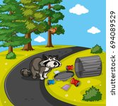 racoon searching trash in park... | Shutterstock .eps vector #694089529