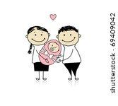 happy parents with newborn baby | Shutterstock .eps vector #69409042