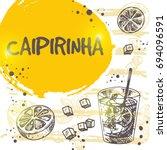 caipirinha cocktail card. retro ... | Shutterstock .eps vector #694096591