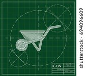 vector blueprint barrow icon on ... | Shutterstock .eps vector #694096609