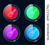 guitar four color glass button...