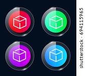 3d cube four color glass button ...