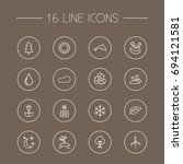 set of 16 nature outline icons... | Shutterstock .eps vector #694121581