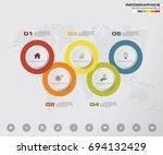 5 steps timeline infographic... | Shutterstock .eps vector #694132429