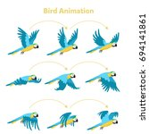 animation the bird is flying.... | Shutterstock .eps vector #694141861