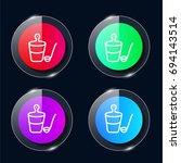 bucket four color glass button...