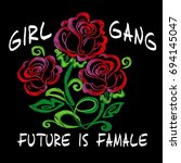 background rose. girl  gang... | Shutterstock .eps vector #694145047