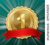 gold medal vector. round... | Shutterstock .eps vector #694145605
