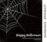 spider web. black and white... | Shutterstock .eps vector #694146127