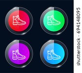 hiking four color glass button...