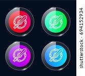 shield four color glass button...